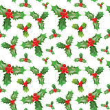 Merry Christmas and Happy New Year Seamless Pattern with Holly Berries. Winter Holidays Wrapping Paper. Vector background Stock Images