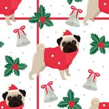 Merry Christmas and Happy New Year Seamless pattern with the pug Stock Photography