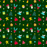 Merry Christmas and Happy New Year Seamless Pattern with Santa and Christmas Elements. Winter Holidays Wrapping Paper. Vector background Stock Photos