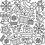 Merry christmas and happy new year seamless pattern. Vector illustration Stock Images