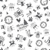 Merry Christmas and Happy New Year 2017 seamless pattern. Stock Photos