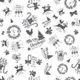Merry Christmas and Happy New Year 2017 seamless pattern. Vector illustration. Xmas retro wallpaper Stock Photos