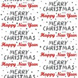 Merry Christmas and Happy New Year seamless pattern on white Stock Photos