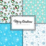 Merry Christmas And Happy New Year Seamless Pattern Winter Holidays Ornament Wrapping Paper Background Concept. Vector Illustration royalty free illustration