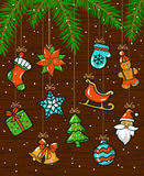 Merry Christmas and Happy New Year seasonal winter card background with hanging ropes garlands with xmas decoration elements. Objects on wooden texture framed stock illustration