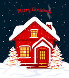 Merry Christmas and Happy New Year seasonal winter card template with red xmas house in snow. At night Royalty Free Stock Photography