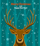 Merry Christmas and Happy New Year seasonal winter greeting card with deer in snow and forest Stock Photos