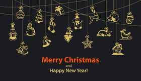 Merry Christmas and Happy New Year seasonal winter hanging rope Garland with decoration items Stock Photos