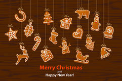Merry Christmas and Happy New Year seasonal winter hanging rope garland with gingerbread cookies vector illustration
