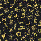 Merry Christmas and Happy New Year seasonal winter Seamless Pattern Texture with decoration items in black and gold Stock Images