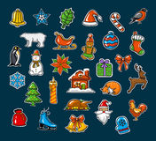 Merry Christmas and Happy New Year, seasonal, winter xmas decoration stickers set Stock Images