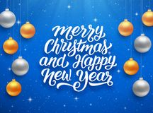 Happy New Year and Merry Christmas vector card. Merry Christmas and Happy New Year seasons greetings text on blue background with sparkles and colorful hanging Royalty Free Stock Image