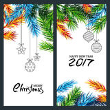 Merry Christmas and Happy New Year 2017. Set of  banner, flyer or poster with multicolor fir branches. Merry Christmas and Happy New Year 2017. Set of  banner Stock Photography