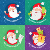 Merry Christmas and Happy New Year. Set of banners. Santa Claus with bag of presents. Santa Claus with many gift boxes. Singing Santa Claus holds paper with Stock Image