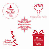 Merry Christmas and happy new year. 2016 Set of calligraphic, typographic elements, frames, vintage labels, seal, tag, banner, sticker. for postcard vector illustration
