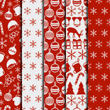 Merry Christmas and Happy New Year 2017 set. Christmas season hand drawn seamless pattern. Vector illustration. Doodle Stock Photography