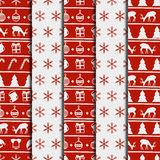 Merry Christmas and Happy New Year 2017 set. Christmas season hand drawn seamless pattern. Vector illustration. Doodle Royalty Free Stock Images