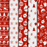Merry Christmas and Happy New Year 2017 set. Christmas season hand drawn seamless pattern. Vector illustration. Doodle Stock Image