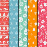 Merry Christmas and Happy New Year 2017 set. Christmas season hand drawn seamless pattern. Vector illustration. Doodle Royalty Free Stock Photo