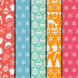 Merry Christmas and Happy New Year 2017 set. Christmas season hand drawn seamless pattern. Vector illustration. Doodle Royalty Free Stock Photography