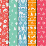 Merry Christmas and Happy New Year 2017 set. Christmas season hand drawn seamless pattern. Vector illustration. Doodle Stock Photos