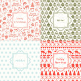 Merry Christmas and Happy New Year 2017 set. Christmas season hand drawn seamless pattern. Vector illustration. Doodle Royalty Free Stock Photos