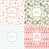 Merry Christmas and Happy New Year 2017 set. Christmas season hand drawn seamless pattern. Vector illustration. Doodle Royalty Free Stock Image