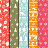 Merry Christmas and Happy New Year 2017 set. Christmas season hand drawn seamless pattern. Vector illustration. Doodle Stock Images