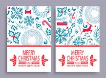 Merry Christmas Set of Covers Vector Illustration. Merry Christmas and happy New Year, set of covers with titles and patterns, leaves and deer, candy and present Stock Images