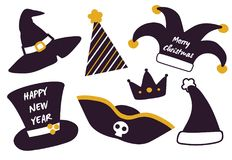 Merry Christmas Happy New Year Set of Festive Hats. Isolated on white. Vector illustration with witch hat, pirate one and Santa s headwear for xmas party Stock Photography