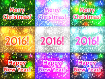 Merry Christmas! Happy New Year! 2016! Set of the Holiday Christ. Mas  backgrounds with bokeh. Vector illustration Stock Photos