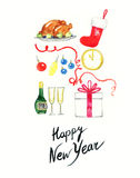 Merry Christmas and Happy New Year set .Holiday objects.Watercolor illustration Stock Photo