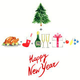 Merry Christmas and Happy New Year set .Holiday objects.Watercolor illustration Stock Photography