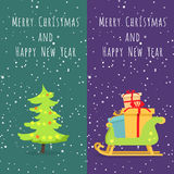 Merry Christmas and Happy New Year. Set of Icons Royalty Free Stock Photos