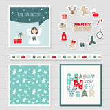 Merry Christmas and Happy New Year 2017 set. Royalty Free Stock Photography
