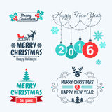 Merry Christmas and happy new year. 2016. Merry Christmas and happy new year. Set of typographic elements, frames and vintage labels royalty free illustration