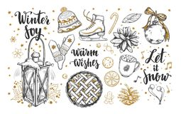 Merry Christmas and Happy New Year set. Vector hand drawn winter elements and Modern brushpen Calligraphy. Winter Joy. Let it snow Stock Image