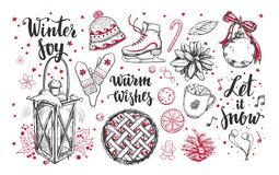 Merry Christmas and Happy New Year set. Vector hand drawn winter elements and Modern brushpen Calligraphy. Winter Joy. Let it snow.  stock illustration