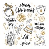 Merry Christmas and Happy New Year set. Vector hand drawn winter elements and Modern brushpen Calligraphy. Winter Joy. Let it snow Stock Photos