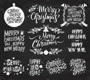 Merry Christmas And Happy New Year. Set of vector retro and vintage calligraphy lettering labels on chalkboard background. stock photos