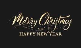 Merry Christmas and Happy New Year. Shiny gold lettering calligraphy for Winter holidays.  vector illustration