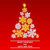 Merry Christmas and happy New year. Shiny new year tree. Beautiful gold and silver snowflakes with glitter and snow. EPS10 vector illustration