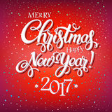Merry Christmas and Happy New Year 2017 sign on reg background with snowflakes. Royalty Free Stock Images