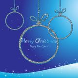 Merry Christmas and Happy New Year. Silver glittering balls. Holiday background. Decorative design for card, banner, greeting, vin. Merry Christmas and Happy New Stock Photos