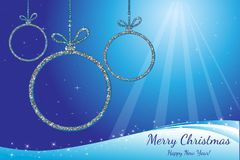 Merry Christmas and Happy New Year. Silver glittering balls. Holiday background. Decorative design for card, banner, greeting, vin. Merry Christmas and Happy New Royalty Free Stock Photos
