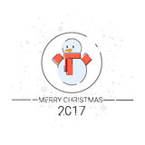 Merry Christmas Happy New Year Simple Line Sketch Banner Card Outline. Vector Illustration Royalty Free Stock Images