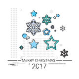 Merry Christmas Happy New Year Simple Line Sketch Banner Card Outline. Vector Illustration Stock Photography