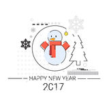 Merry Christmas Happy New Year Simple Line Sketch Banner Card Outline. Vector Illustration Stock Photos