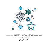 Merry Christmas Happy New Year Simple Line Sketch Banner Card Outline. Vector Illustration Royalty Free Stock Image