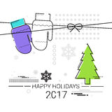 Merry Christmas Happy New Year Simple Line Sketch Banner Card Outline Stock Photography